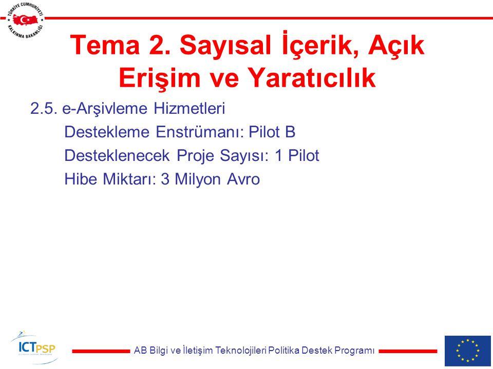 AB Bilgi ve İletişim Teknolojileri Politika Destek Programı Tema 2.