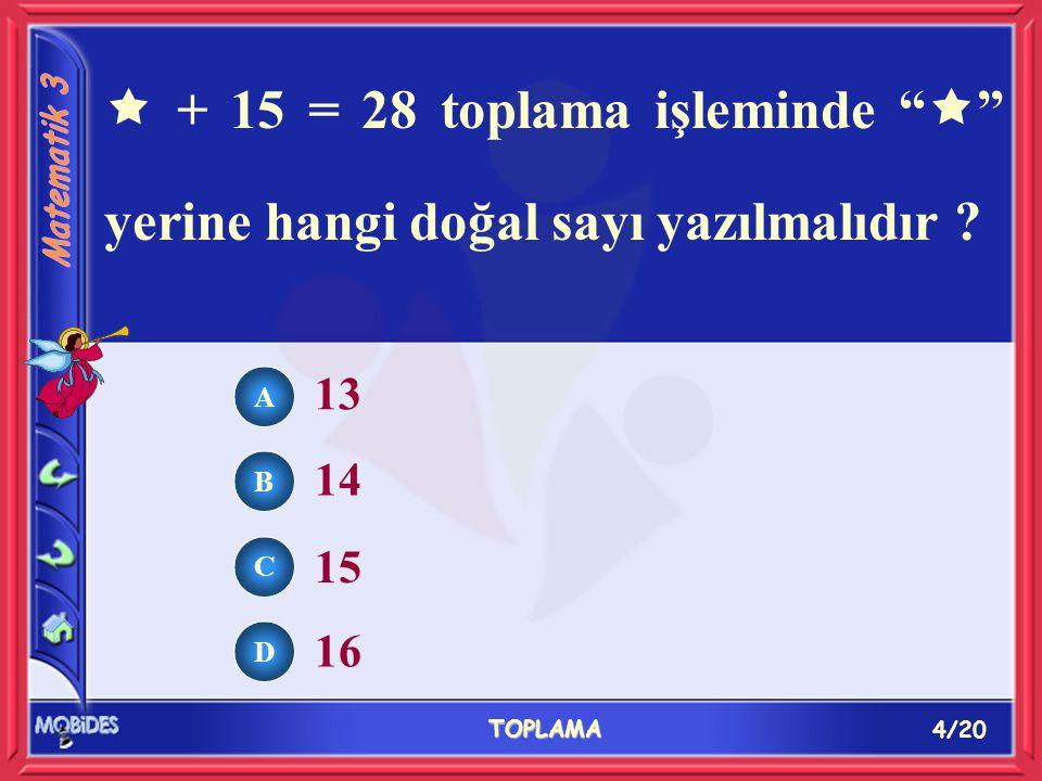 4/20 TOPLAMA A B C D 13 14 15 16  + 15 = 28 toplama işleminde  yerine hangi doğal sayı yazılmalıdır