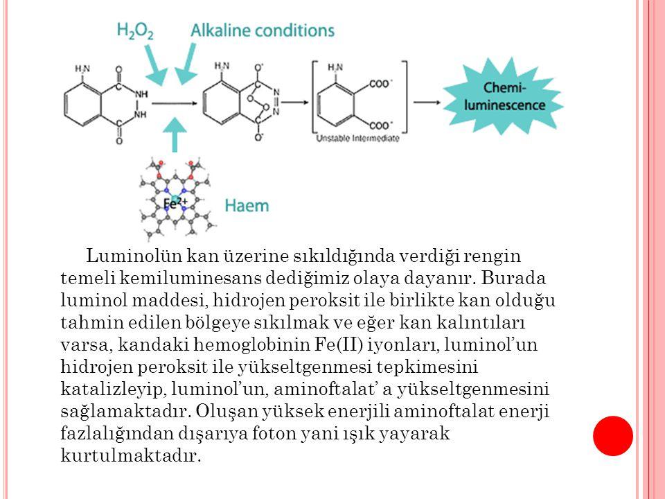 Luminolün kan üzerine sıkıldığında verdiği rengin temeli kemiluminesans dediğimiz olaya dayanır. Burada luminol maddesi, hidrojen peroksit ile birlikt