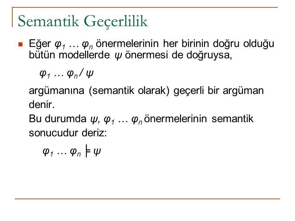 Semantik Geçerlilik Eğer φ 1 … φ n önermelerinin her birinin doğru olduğu bütün modellerde ψ önermesi de doğruysa, φ 1 … φ n / ψ argümanına (semantik olarak) geçerli bir argüman denir.