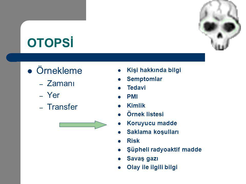 OTOPSİ Örnekleme – Zamanı – Yer – Transfer Kişi hakkında bilgi Semptomlar Tedavi PMI Kimlik Örnek listesi Koruyucu madde Saklama koşulları Risk Şüphel