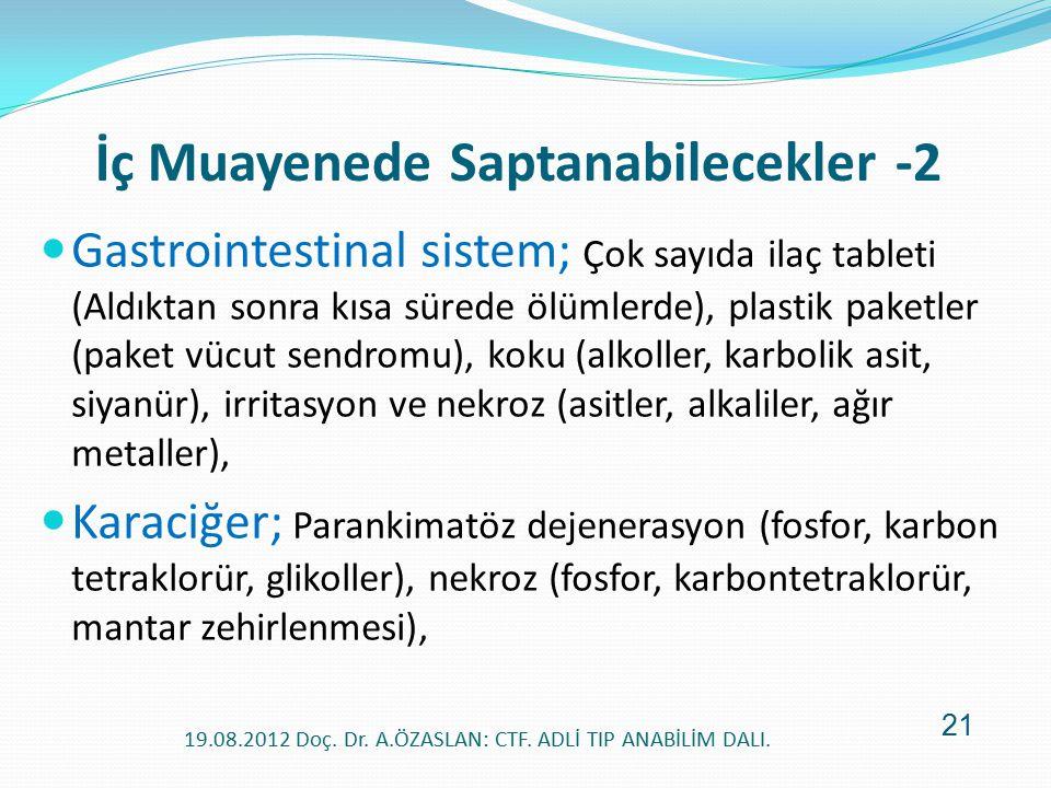 Gastrointestinal sistem; Çok sayıda ilaç tableti (Aldıktan sonra kısa sürede ölümlerde), plastik paketler (paket vücut sendromu), koku (alkoller, karb