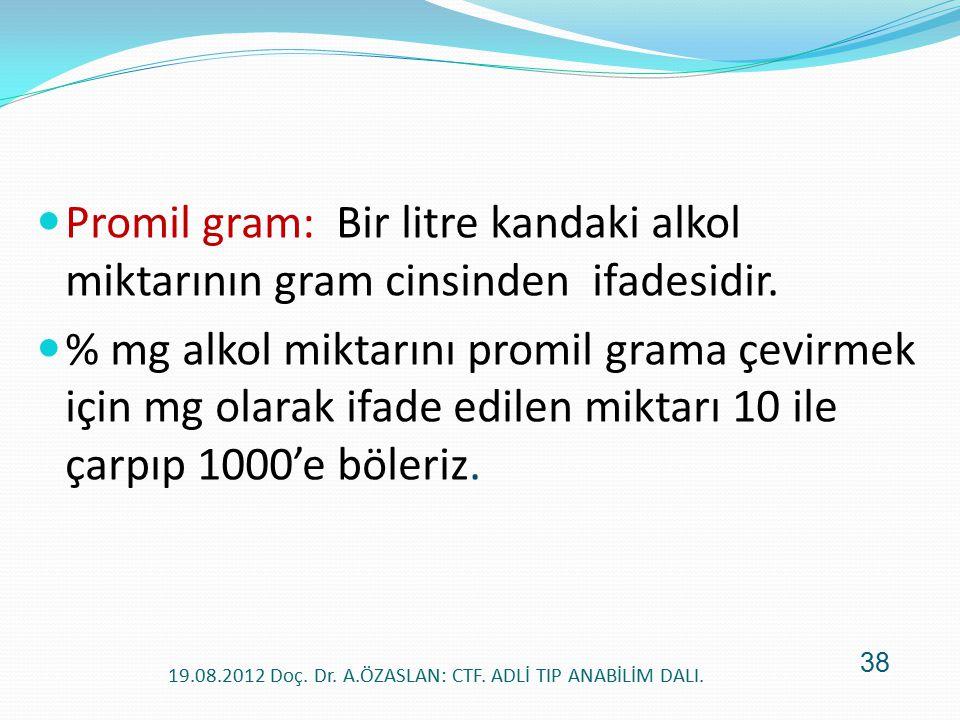 Promil gram: Bir litre kandaki alkol miktarının gram cinsinden ifadesidir. % mg alkol miktarını promil grama çevirmek için mg olarak ifade edilen mikt