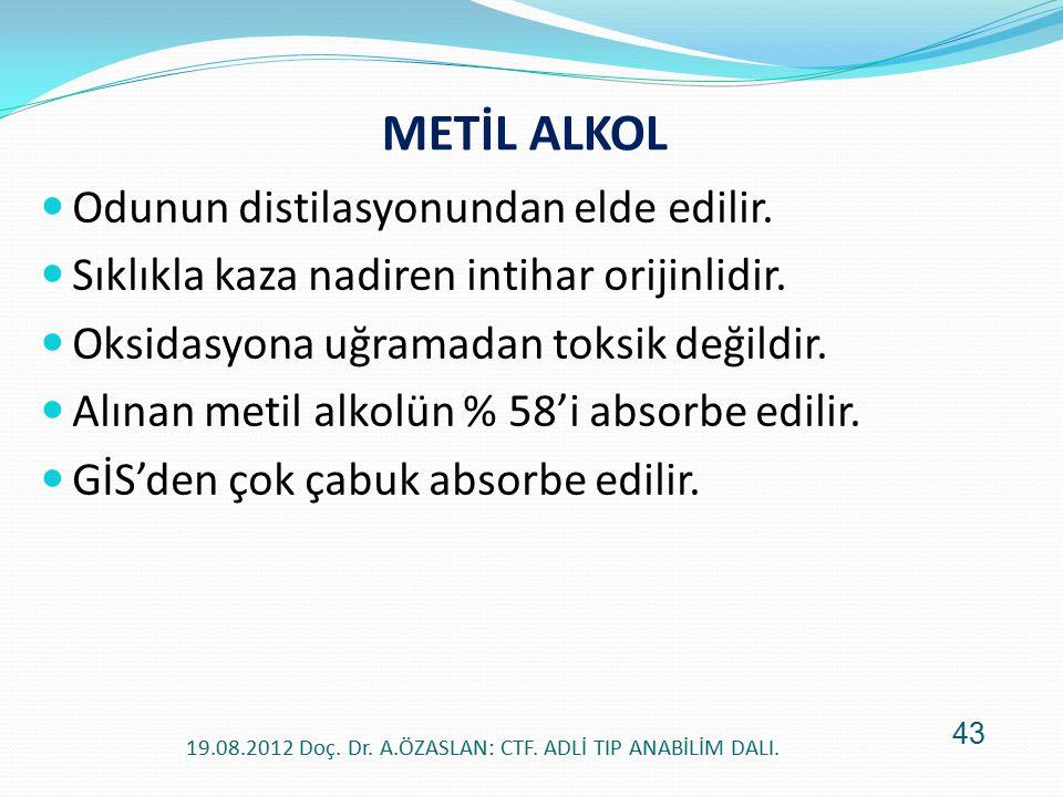 METİL ALKOL Odunun distilasyonundan elde edilir. Sıklıkla kaza nadiren intihar orijinlidir. Oksidasyona uğramadan toksik değildir. Alınan metil alkolü