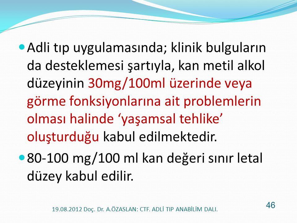 Adli tıp uygulamasında; klinik bulguların da desteklemesi şartıyla, kan metil alkol düzeyinin 30mg/100ml üzerinde veya görme fonksiyonlarına ait probl