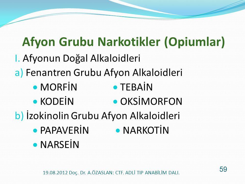 Afyon Grubu Narkotikler (Opiumlar) I. Afyonun Doğal Alkaloidleri a) Fenantren Grubu Afyon Alkaloidleri  MORFİN  TEBAİN  KODEİN  OKSİMORFON b) İzok