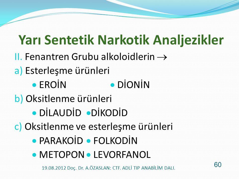 Yarı Sentetik Narkotik Analjezikler II. Fenantren Grubu alkoloidlerin  a) Esterleşme ürünleri  EROİN  DİONİN b) Oksitlenme ürünleri  DİLAUDİD  Dİ