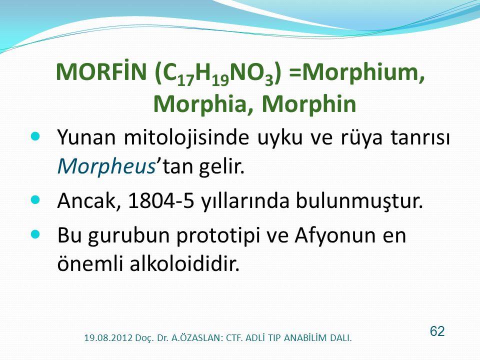 MORFİN (C 17 H 19 NO 3 ) =Morphium, Morphia, Morphin Yunan mitolojisinde uyku ve rüya tanrısı Morpheus'tan gelir. Ancak, 1804-5 yıllarında bulunmuştur