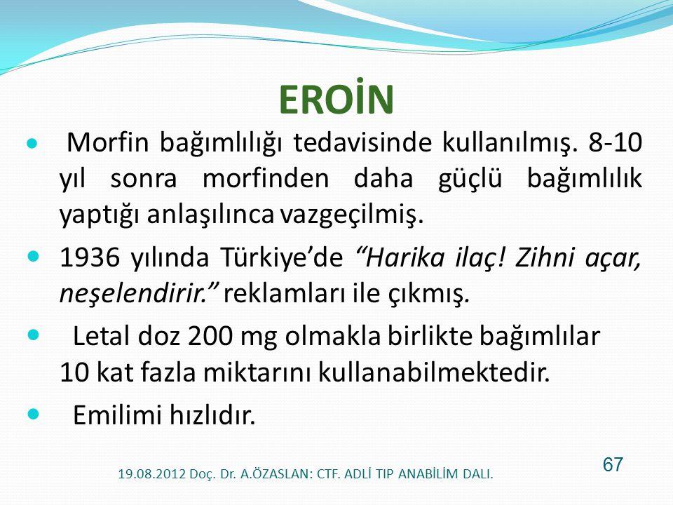 EROİN  Morfin bağımlılığı tedavisinde kullanılmış. 8-10 yıl sonra morfinden daha güçlü bağımlılık yaptığı anlaşılınca vazgeçilmiş. 1936 yılında Türki