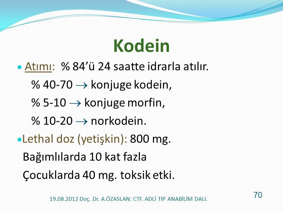 Kodein  Atımı: % 84'ü 24 saatte idrarla atılır. % 40-70  konjuge kodein, % 5-10  konjuge morfin, % 10-20  norkodein.  Lethal doz (yetişkin): 800