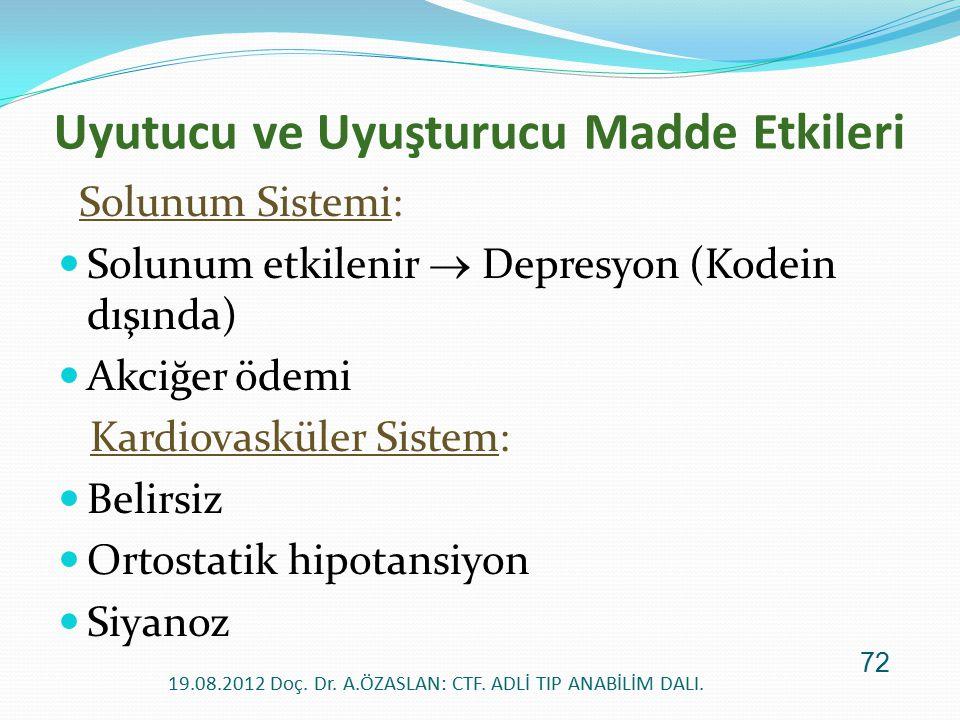 Solunum Sistemi: Solunum etkilenir  Depresyon (Kodein dışında) Akciğer ödemi Kardiovasküler Sistem: Belirsiz Ortostatik hipotansiyon Siyanoz Uyutucu