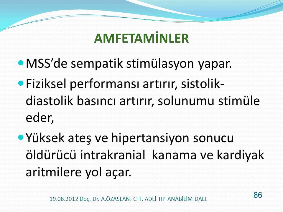 AMFETAMİNLER MSS'de sempatik stimülasyon yapar. Fiziksel performansı artırır, sistolik- diastolik basıncı artırır, solunumu stimüle eder, Yüksek ateş