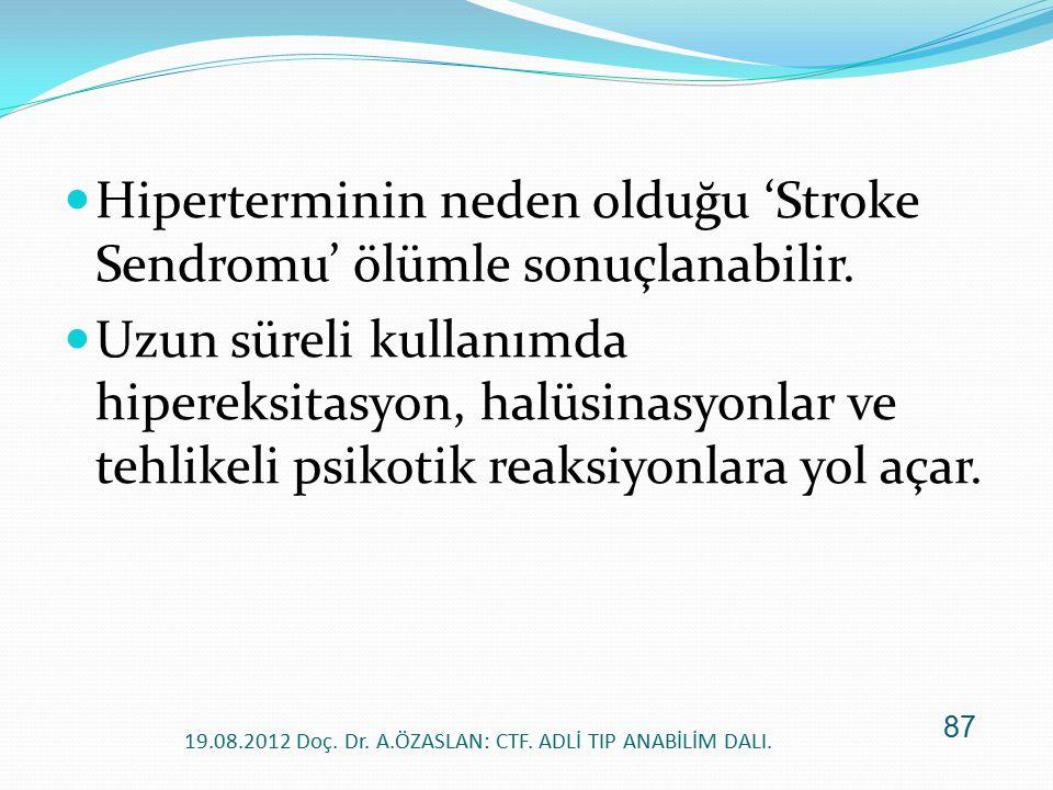 Hiperterminin neden olduğu 'Stroke Sendromu' ölümle sonuçlanabilir. Uzun süreli kullanımda hipereksitasyon, halüsinasyonlar ve tehlikeli psikotik reak