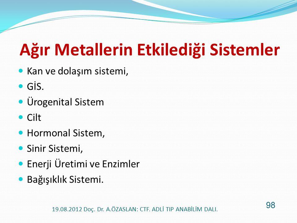 Ağır Metallerin Etkilediği Sistemler Kan ve dolaşım sistemi, GİS. Ürogenital Sistem Cilt Hormonal Sistem, Sinir Sistemi, Enerji Üretimi ve Enzimler Ba