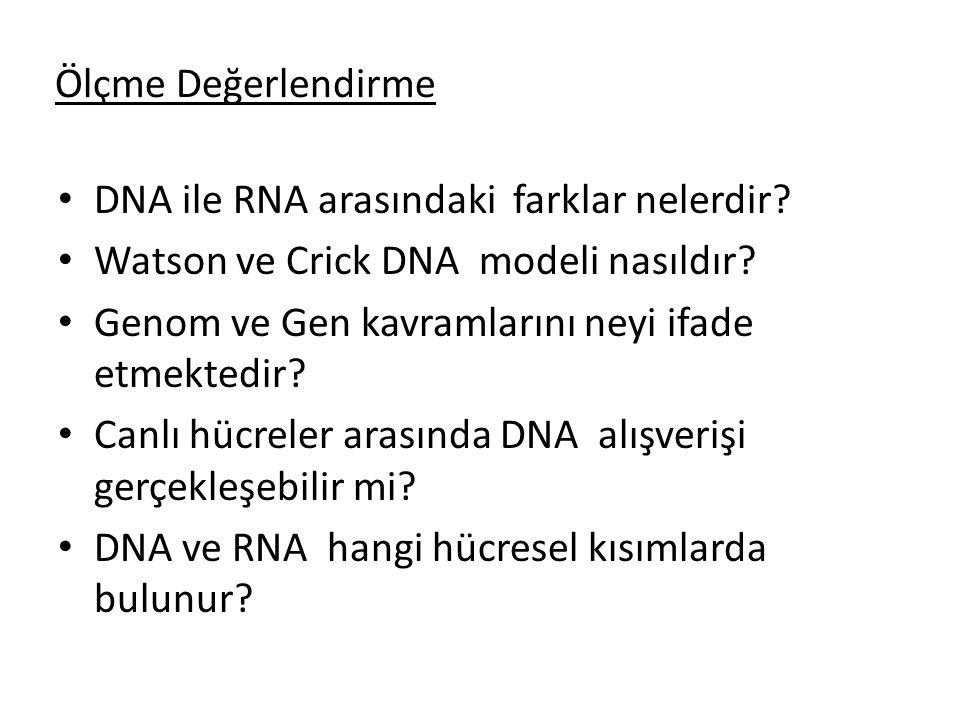 Ölçme Değerlendirme DNA ile RNA arasındaki farklar nelerdir? Watson ve Crick DNA modeli nasıldır? Genom ve Gen kavramlarını neyi ifade etmektedir? Can