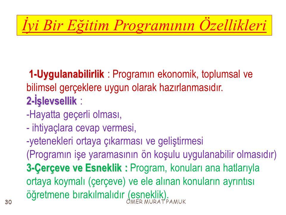 1-Uygulanabilirlik 2-İşlevsellik 3-Çerçeve ve Esneklik : 1-Uygulanabilirlik : Programın ekonomik, toplumsal ve bilimsel gerçeklere uygun olarak hazırl