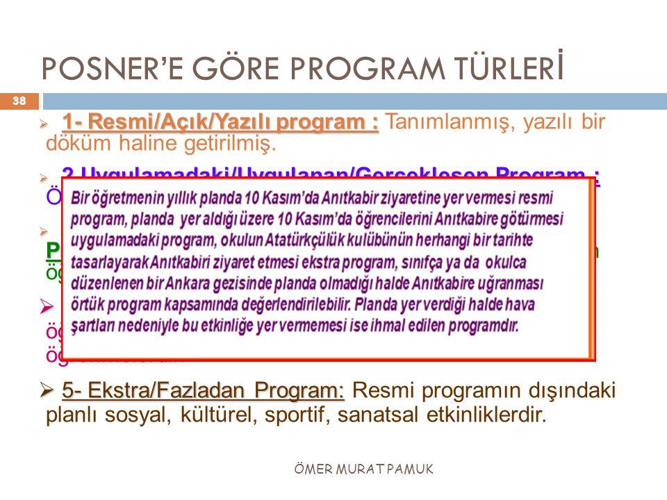 POSNER'E GÖRE PROGRAM TÜRLER İ  1- Resmi/Açık/Yazılı program :  1- Resmi/Açık/Yazılı program : Tanımlanmış, yazılı bir döküm haline getirilmiş.  2.