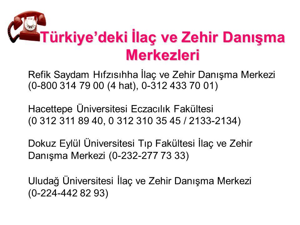 Türkiye'deki İlaç ve Zehir Danışma Merkezleri Refik Saydam Hıfzısıhha İlaç ve Zehir Danışma Merkezi (0-800 314 79 00 (4 hat), 0-312 433 70 01) Uludağ
