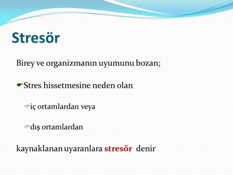 Stresör Birey ve organizmanın uyumunu bozan;  Stres hissetmesine neden olan  iç ortamlardan veya  dış ortamlardan kaynaklanan uyaranlara stresör de