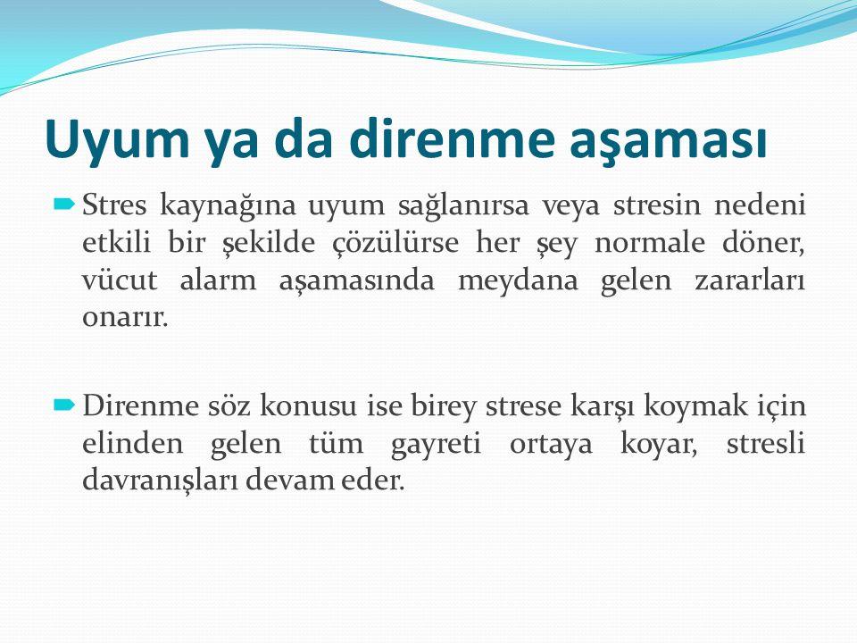 Uyum ya da direnme aşaması  Stres kaynağına uyum sağlanırsa veya stresin nedeni etkili bir şekilde çözülürse her şey normale döner, vücut alarm aşama