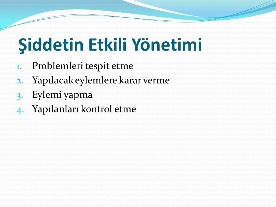 Şiddetin Etkili Yönetimi 1. Problemleri tespit etme 2. Yapılacak eylemlere karar verme 3. Eylemi yapma 4. Yapılanları kontrol etme