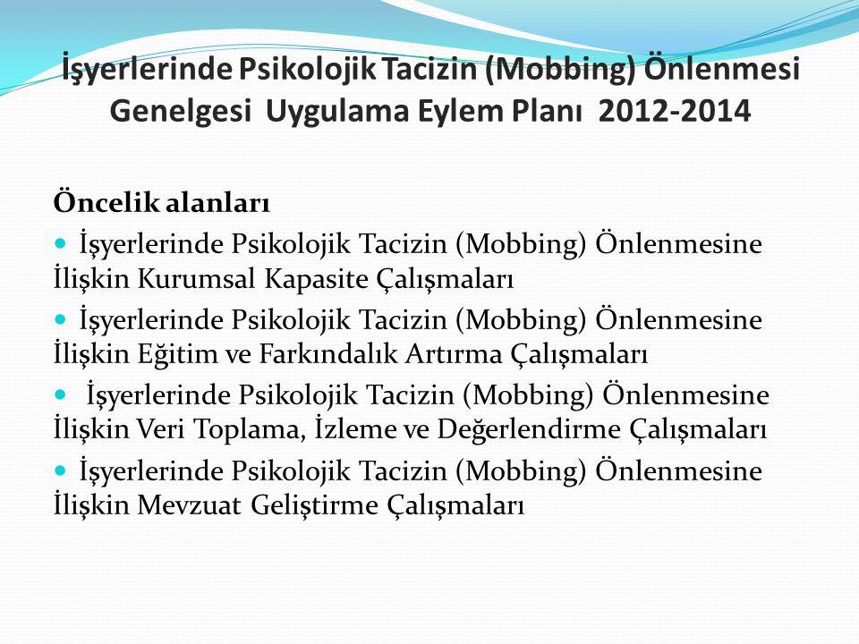 İşyerlerinde Psikolojik Tacizin (Mobbing) Önlenmesi Genelgesi Uygulama Eylem Planı 2012-2014 Öncelik alanları İşyerlerinde Psikolojik Tacizin (Mobbing