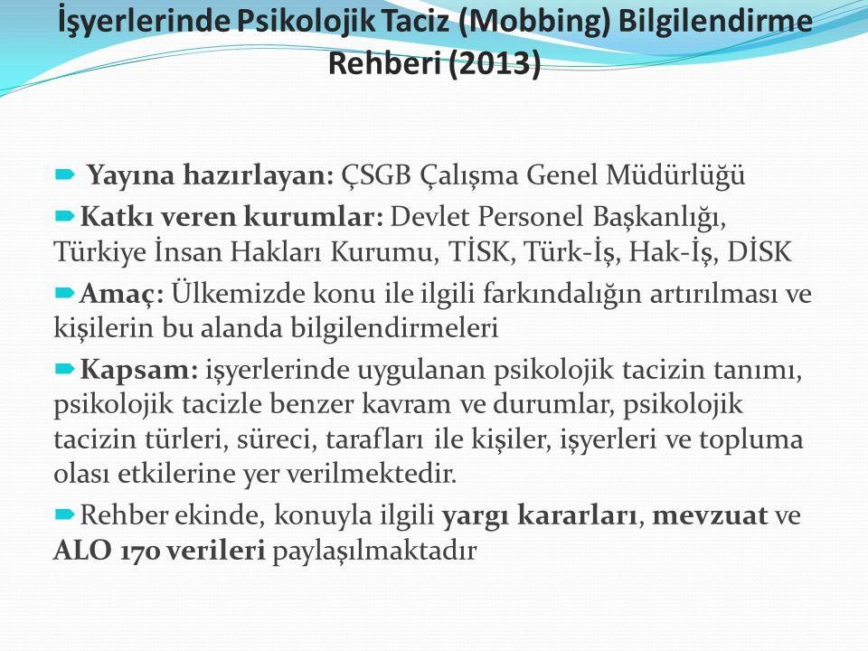 İşyerlerinde Psikolojik Taciz (Mobbing) Bilgilendirme Rehberi (2013)  Yayına hazırlayan: ÇSGB Çalışma Genel Müdürlüğü  Katkı veren kurumlar: Devlet
