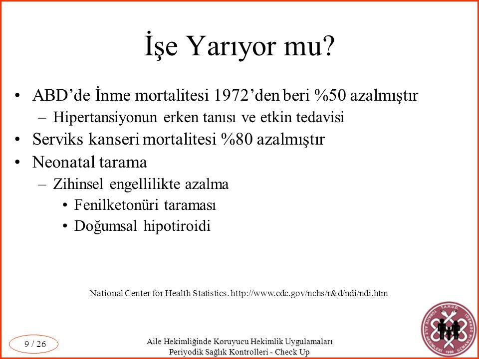 Aile Hekimliğinde Koruyucu Hekimlik Uygulamaları Periyodik Sağlık Kontrolleri - Check Up / 26 10 Aşılama ve Polio Türkiye'de Polio eradikasyon çalışmaları 1989'da başladı.