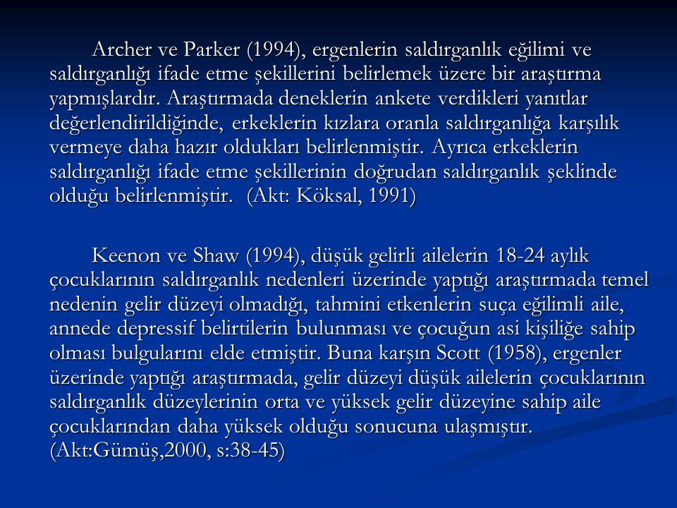 Archer ve Parker (1994), ergenlerin saldırganlık eğilimi ve saldırganlığı ifade etme şekillerini belirlemek üzere bir araştırma yapmışlardır. Araştırm
