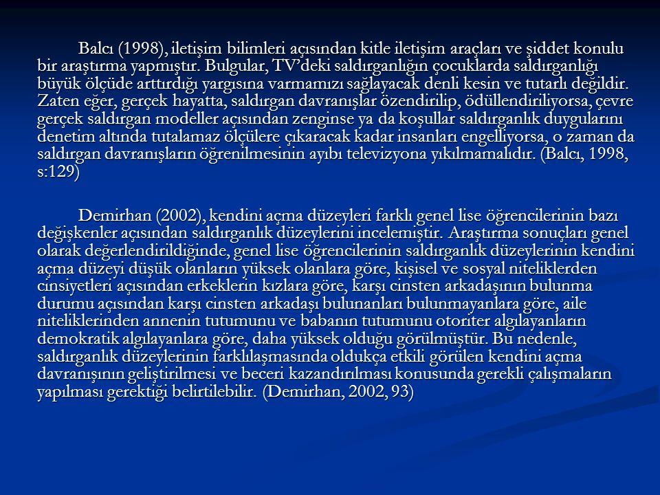 Balcı (1998), iletişim bilimleri açısından kitle iletişim araçları ve şiddet konulu bir araştırma yapmıştır. Bulgular, TV'deki saldırganlığın çocuklar
