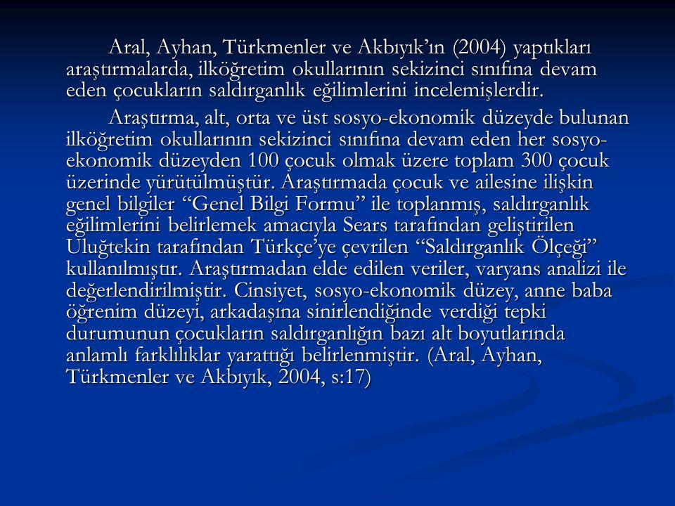 Aral, Ayhan, Türkmenler ve Akbıyık'ın (2004) yaptıkları araştırmalarda, ilköğretim okullarının sekizinci sınıfına devam eden çocukların saldırganlık e