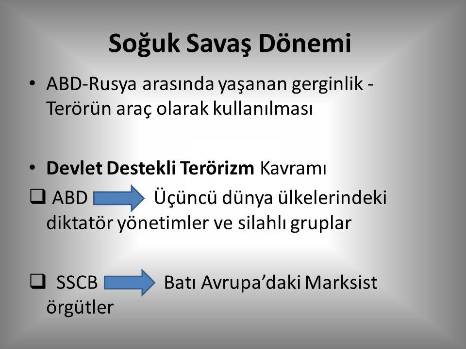 Soğuk Savaş Dönemi ABD-Rusya arasında yaşanan gerginlik - Terörün araç olarak kullanılması Devlet Destekli Terörizm Kavramı  ABD Üçüncü dünya ülkelerindeki diktatör yönetimler ve silahlı gruplar  SSCB Batı Avrupa'daki Marksist örgütler