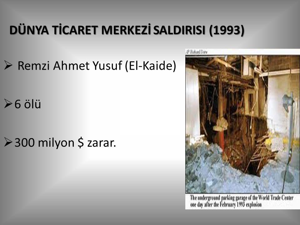 DÜNYA TİCARET MERKEZİ SALDIRISI (1993)  Remzi Ahmet Yusuf (El-Kaide)  6 ölü  300 milyon $ zarar.