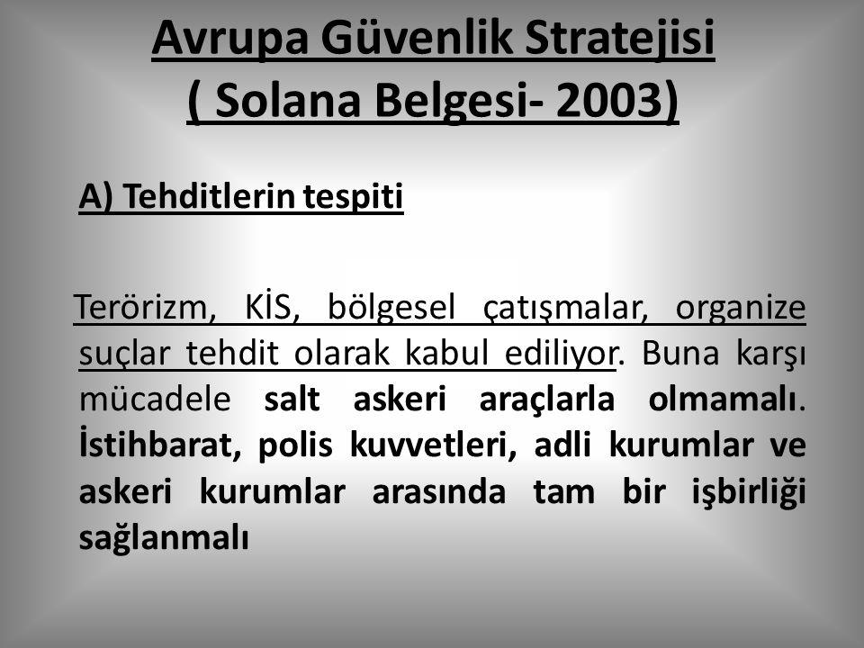 Avrupa Güvenlik Stratejisi ( Solana Belgesi- 2003) A) Tehditlerin tespiti Terörizm, KİS, bölgesel çatışmalar, organize suçlar tehdit olarak kabul ediliyor.
