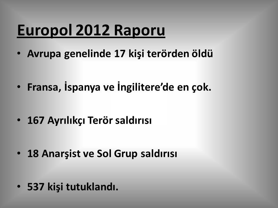 Europol 2012 Raporu Avrupa genelinde 17 kişi terörden öldü Fransa, İspanya ve İngilitere'de en çok.