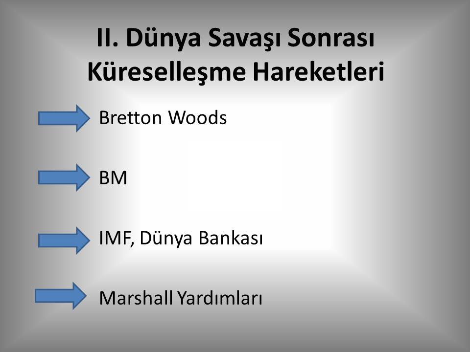 II. Dünya Savaşı Sonrası Küreselleşme Hareketleri Bretton Woods BM IMF, Dünya Bankası Marshall Yardımları