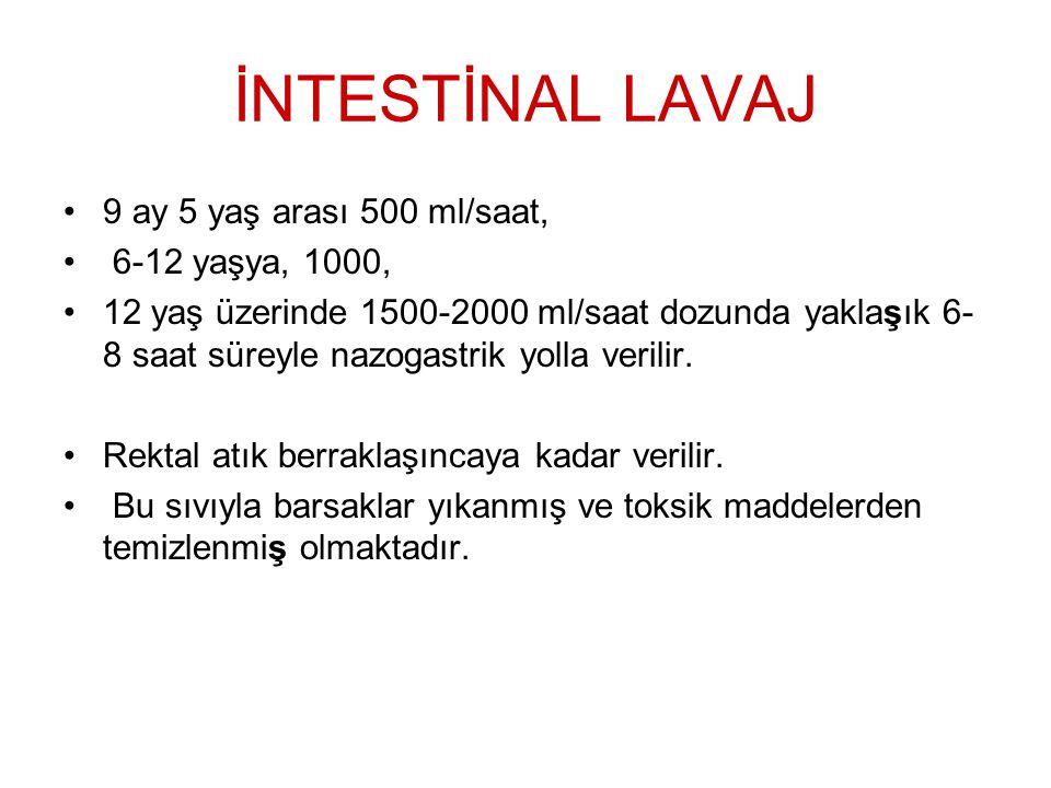 İNTESTİNAL LAVAJ 9 ay 5 yaş arası 500 ml/saat, 6-12 yaşya, 1000, 12 yaş üzerinde 1500-2000 ml/saat dozunda yaklaşık 6- 8 saat süreyle nazogastrik yoll