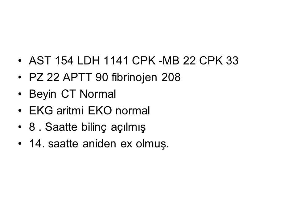 AST 154 LDH 1141 CPK -MB 22 CPK 33 PZ 22 APTT 90 fibrinojen 208 Beyin CT Normal EKG aritmi EKO normal 8. Saatte bilinç açılmış 14. saatte aniden ex ol