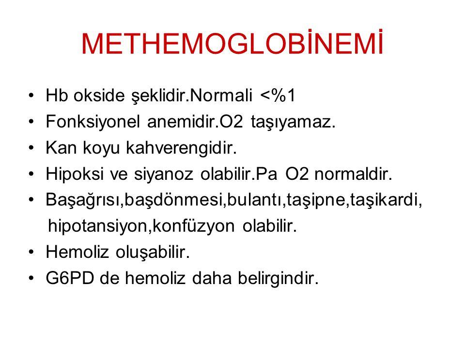 METHEMOGLOBİNEMİ Hb okside şeklidir.Normali <%1 Fonksiyonel anemidir.O2 taşıyamaz. Kan koyu kahverengidir. Hipoksi ve siyanoz olabilir.Pa O2 normaldir