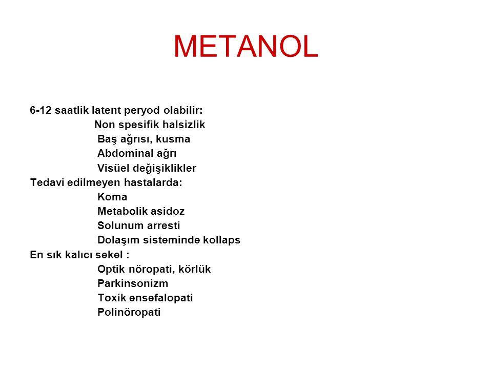 METANOL 6-12 saatlik latent peryod olabilir: Non spesifik halsizlik Baş ağrısı, kusma Abdominal ağrı Visüel değişiklikler Tedavi edilmeyen hastalarda: