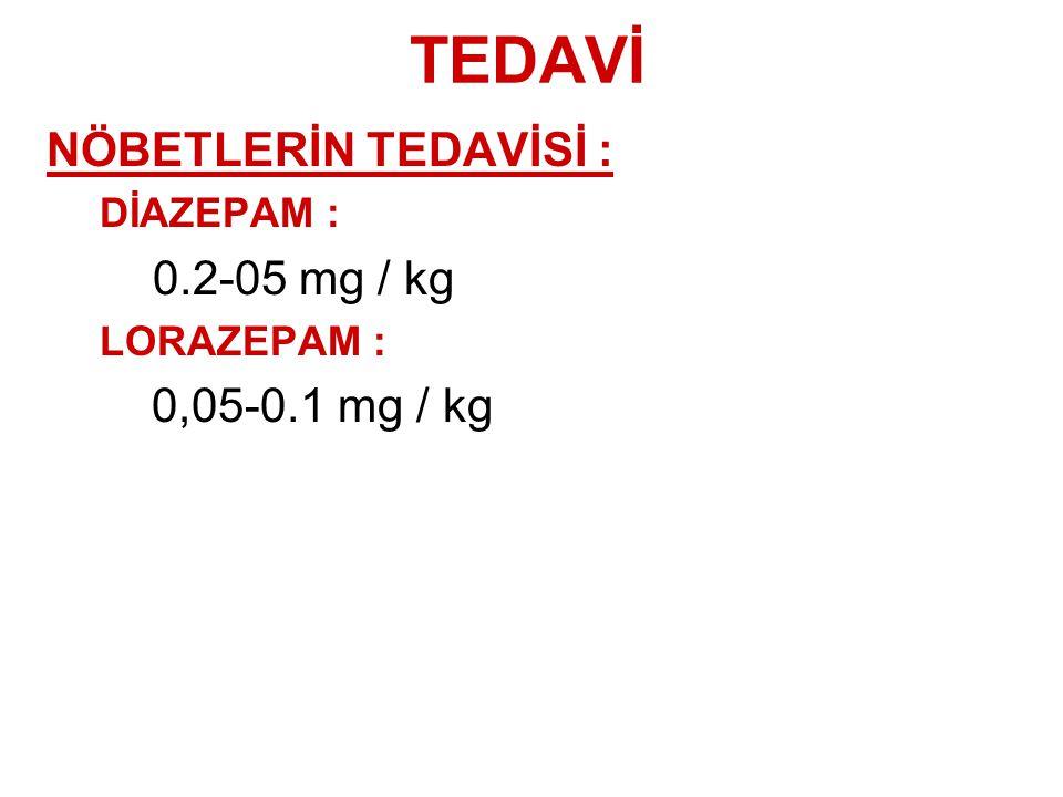 TEDAVİ NÖBETLERİN TEDAVİSİ : DİAZEPAM : 0.2-05 mg / kg LORAZEPAM : 0,05-0.1 mg / kg