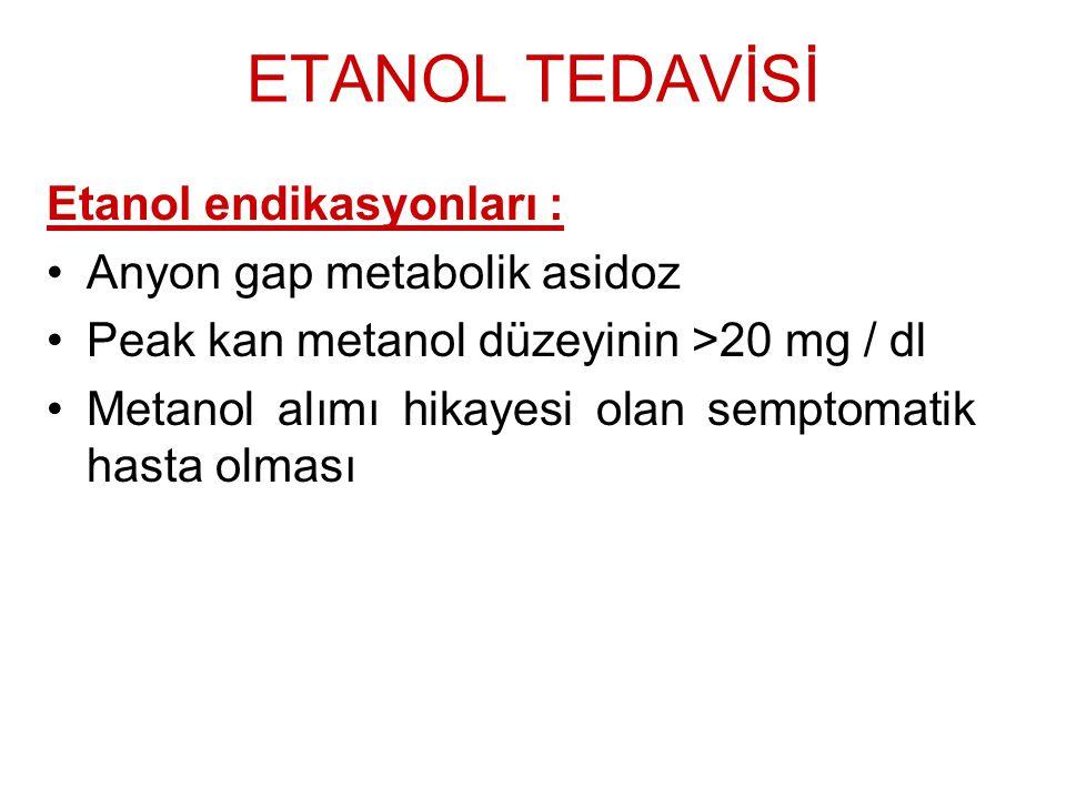 ETANOL TEDAVİSİ Etanol endikasyonları : Anyon gap metabolik asidoz Peak kan metanol düzeyinin >20 mg / dl Metanol alımı hikayesi olan semptomatik hast