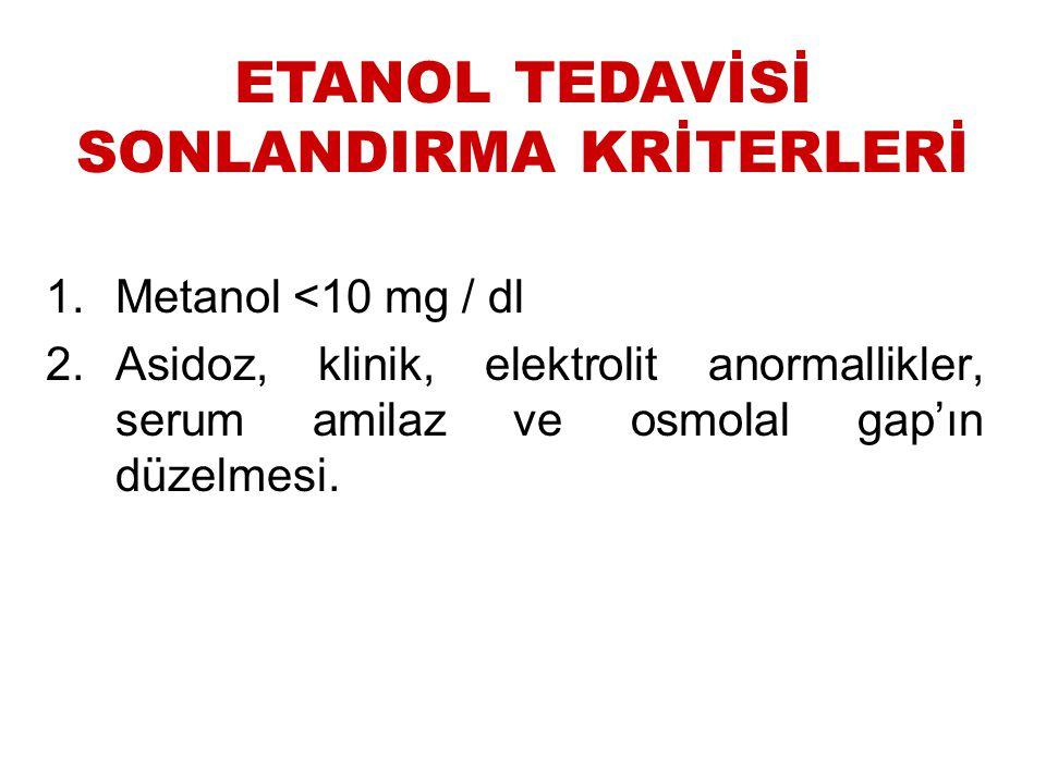 1.Metanol <10 mg / dl 2.Asidoz, klinik, elektrolit anormallikler, serum amilaz ve osmolal gap'ın düzelmesi. ETANOL TEDAVİSİ SONLANDIRMA KRİTERLERİ