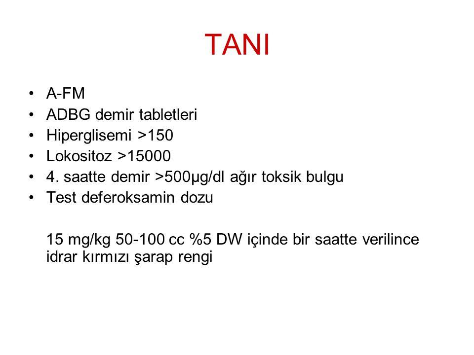 TANI A-FM ADBG demir tabletleri Hiperglisemi >150 Lokositoz >15000 4. saatte demir >500μg/dl ağır toksik bulgu Test deferoksamin dozu 15 mg/kg 50-100