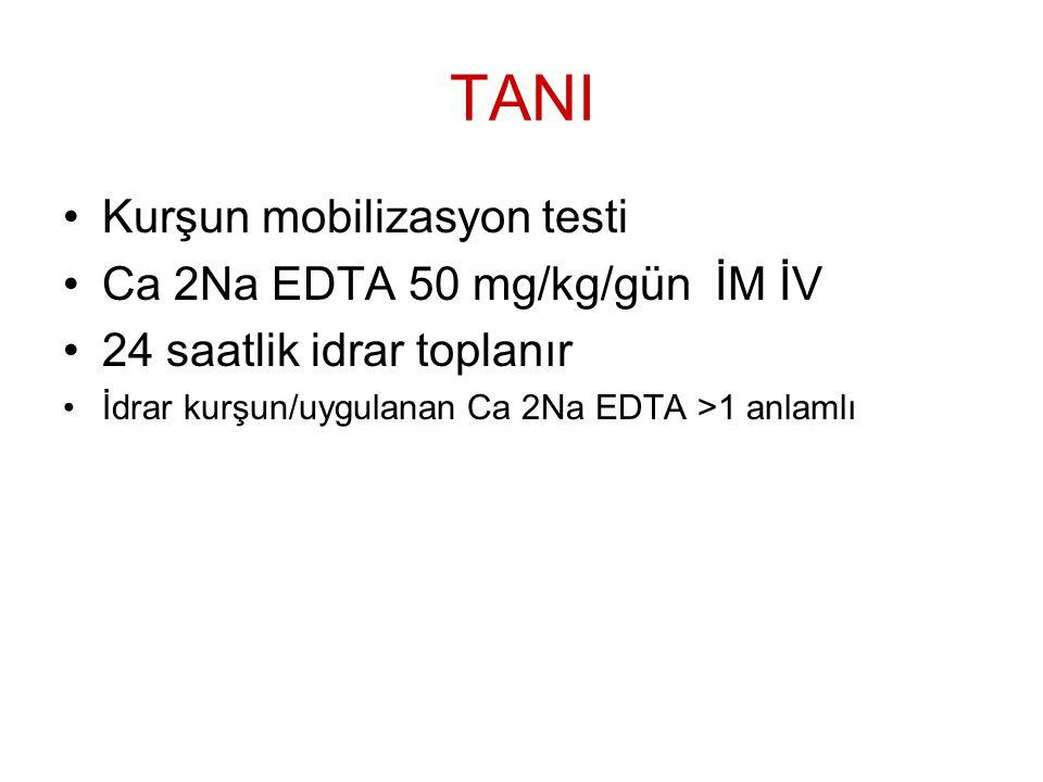 TANI Kurşun mobilizasyon testi Ca 2Na EDTA 50 mg/kg/gün İM İV 24 saatlik idrar toplanır İdrar kurşun/uygulanan Ca 2Na EDTA >1 anlamlı