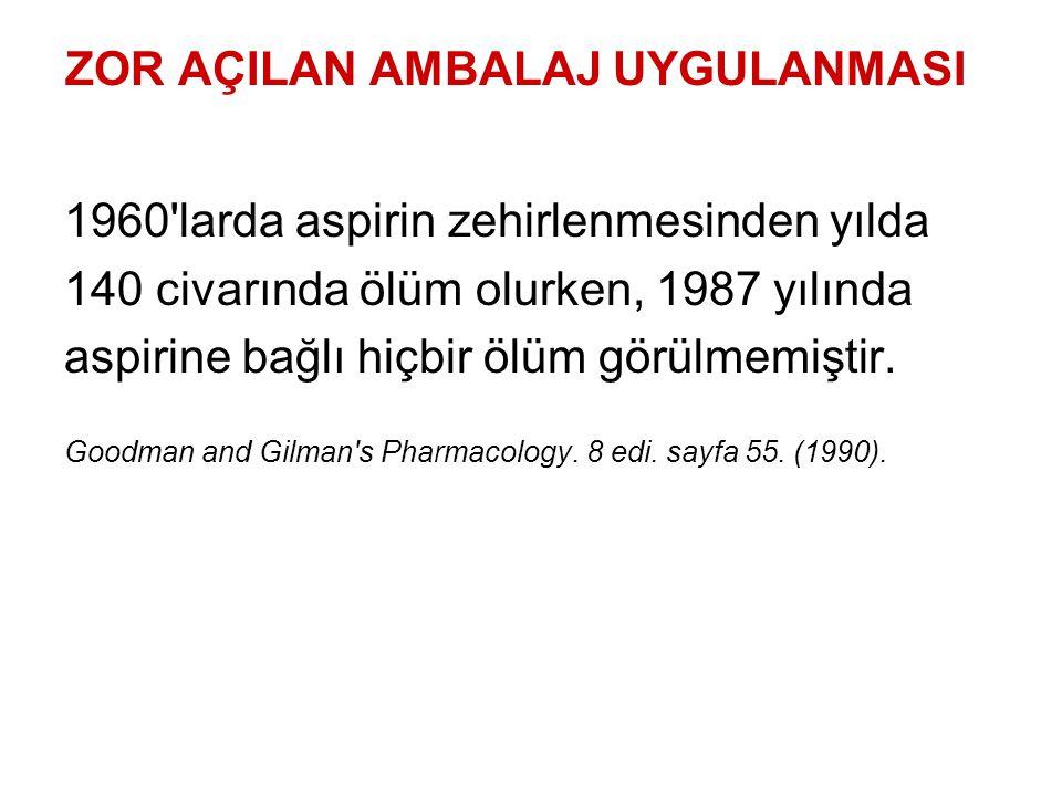 ZOR AÇILAN AMBALAJ UYGULANMASI 1960'larda aspirin zehirlenmesinden yılda 140 civarında ölüm olurken, 1987 yılında aspirine bağlı hiçbir ölüm görülmemi