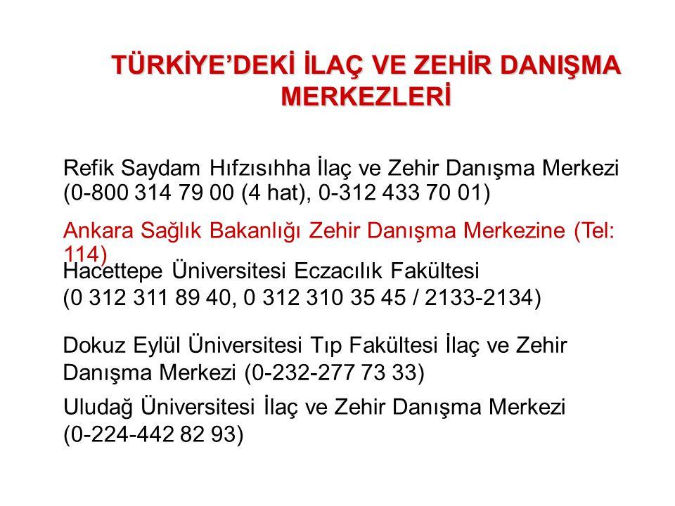 TÜRKİYE'DEKİ İLAÇ VE ZEHİR DANIŞMA MERKEZLERİ Refik Saydam Hıfzısıhha İlaç ve Zehir Danışma Merkezi (0-800 314 79 00 (4 hat), 0-312 433 70 01) Ankara