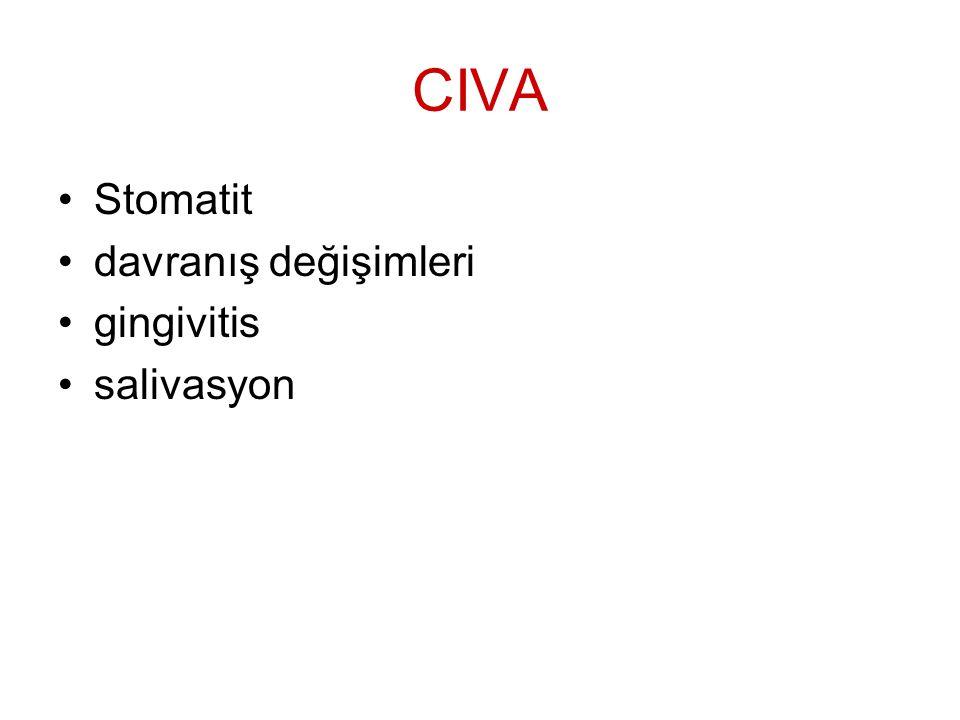 CIVA Stomatit davranış değişimleri gingivitis salivasyon