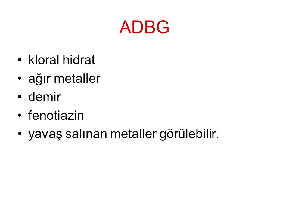 ADBG kloral hidrat ağır metaller demir fenotiazin yavaş salınan metaller görülebilir.