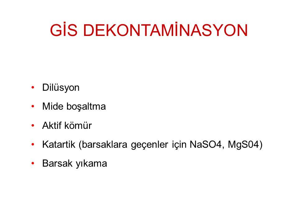 Dilüsyon Mide boşaltma Aktif kömür Katartik (barsaklara geçenler için NaSO4, MgS04) Barsak yıkama GİS DEKONTAMİNASYON